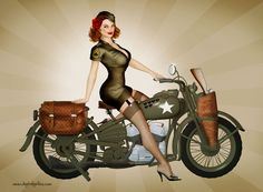 40s military pin up art   Sgt. Davidson - US Army Harley Pinup by *seanearley on deviantART