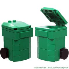 LEGO Recycling Bin (Green) by bruceywan, via Flickr
