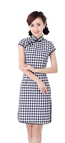 32a534ce8f5f AvaCostume Women s Chinese Traditional Plaid Slim Border Dress Qipao -  Small
