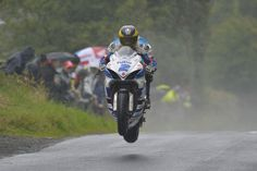 Guy Martin winning at the Armoy road races on his Tyco Suzuki GSX-R600 supersport machine.