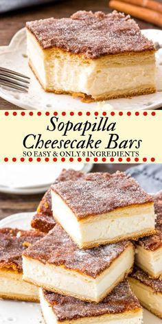 sopapilla cheesecake bars have a thick layer of creamy cheesecake between 2 sheets of flaky pastry. Then they're topped with buttery cinnamon sugar. This version of sopapilla is made with only 8 ingredients - so it's quick, easy & oh so delicious. 13 Desserts, Delicious Desserts, Dessert Healthy, Easy Recipes For Desserts, Mexican Dessert Easy, Mexican Potluck, Spanish Desserts, Fast Recipes, Best Dessert Recipes