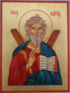 High quality hand-painted Orthodox icon of Saint Andrew the Apostle. BlessedMart offers Religious icons in old Byzantine, Greek, Russian and Catholic style. Andrew The Apostle, Paint Icon, Powder Paint, Byzantine Art, St Andrews, Religious Icons, Orthodox Icons, Tempera, Roman Catholic
