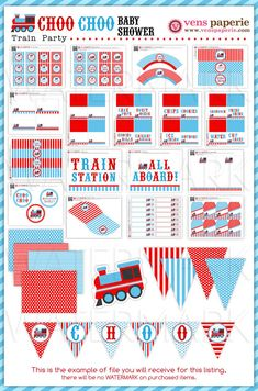 Vintage Choo-Choo Train Baby Shower Package by venspaperie on Etsy