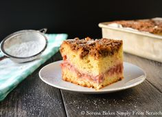 Strawberry Rhubarb Cake is the perfect cake for any occasion with it's gorgeous pink filling and brown sugar crumb topping.