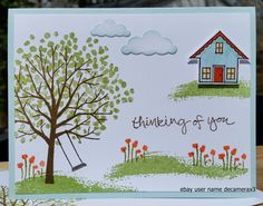 "Stampin' Up Thinking of You greeting card made from the Sheltering Tree stamp set and the ""You Brighten My Day"" Stamp Set from the 2015 Stampin' Up Sale-A-Bration sale. Handmade by Quinn  For sale on ebay at user name decamerax3"
