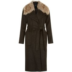 New Look Petite Khaki Faux Fur Collar Belted Longline Coat ($31) ❤ liked on Polyvore featuring outerwear, coats, khaki, belted coat, faux fur collar coat, khaki coat, petite coats and long coat