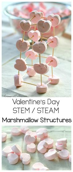 Valentine's Day STEM / STEAM Activity: Explore engineering and physics with heart shaped marshmallows and toothpicks. Kids will love building all kinds of shapes and structures- perfect for a Valentine's Day party! Valentines Games, Valentine Theme, Valentines Day Activities, Valentines Day Party, Holiday Activities, Valentine Day Crafts, Stem Activities, Activities For Kids, Valentine Ideas