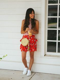 floral skirt + strip