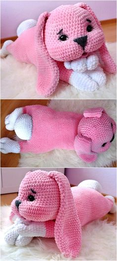 Here is a cute puppy at the start of the ideas; just 2 yarns color pink and white is required to crochet it. The eyes are not crocheted; the read-made eyes are attached to the crocheted dog. Puppies are adorable and this one is also looking lovely.