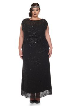 US22 UK26 AUS26 EU54 Plus Size Isla Black Prom Maxi Dress 20s Flapper Great Gatsby Bridesmaid Homecoming Black Tie Mother of the Bride New