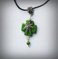 Medical Marijuana Necklace, Green Turquoise Cross, Black Cord, Jasper Bead, Pot Leaf Charm, 7 Leaf Cannabis, MJ Necklace, Birth Stone Option