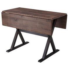 Linon Home Dining Table: Drop Leaf Rustic Dining Table - Brown Extension Table, Drop Leaf Table, Small Dining, Narrow Dining Tables, Console Tables, Table Desk, Diy Table, Diy Desk, Wood And Metal