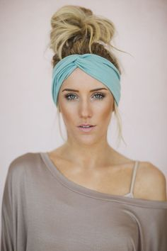 Turban Headband Women's Solid Jersey Hair Band, Headband, or Head Wrap with Twisted Center for Women and Girls in Mint (HB-158)