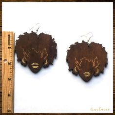 ~ Wooden Earrings ~ Black Chick with Glitter Lips