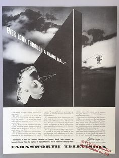 1942 Farnsworth Television Print Ad  WWII Era by PrintAdStudios