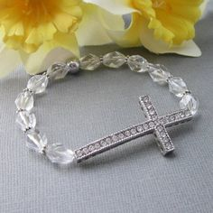 Rhinestone Sideways Cross Stretch Bracelet Beaded Crystals Silver | @singingbeader  - Jewelry on ArtFire