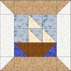Spool quilt block - swap out the sailboat with any other 9-patch block.