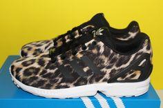 f6f517f11f140 Adidas ZX Flux Leopard Animal Print Torsion Juniors Girls 5 - 7 Trainers  B25642