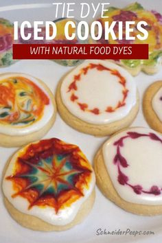 Shortbread Cookies with Icing for Tie Dye Cookies Shortbread Cookies With Icing, Homemade Shortbread, Cookie Icing, Iced Cookies, Sugar Cookies Recipe, Healthy Meals To Cook, Healthy Dessert Recipes, Real Food Recipes, Cookie Recipes