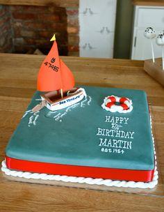 Nautical cake. sugar paste. modelling paste. boat cake. cake decorating. sugar paste knot. rope. sailing dinghy. fruit cake. coloured sugar paste. life saving ring. sugar craft. royal icing. piping. brush embroidery. waves. lustre. Party cake. DIY. Birthday Cakes For Men, Nautical Birthday Cakes, Nautical Cake, Sailboat Cake, Dad Cake, Cake Decorating Kits, Cool Cake Designs, Gorgeous Cakes, Celebration Cakes