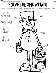 Snowman addition freebie