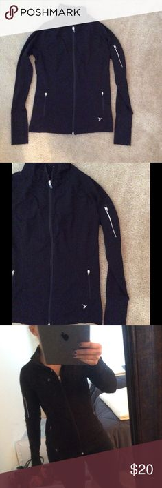 Stretchy lightweight zip up Great jacket for runners. In excellent condition. Stretchy and has long sleeves to cover your hands, as last photo shows. Additional zip pocket at upper left arm. From a pet free and smoke free home. xactive  Jackets & Coats