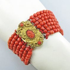 Old Coral Beads Bracelet Carved Coral Clasp Gilt by OldeAntiques, £165.00