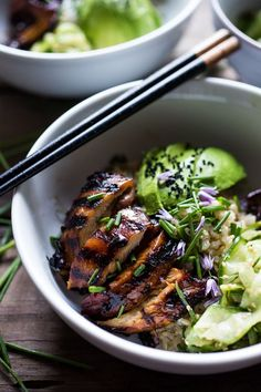 Grilled Japanese Farm Style Teriyaki Bowl - can be made with grilled chicken or portobellos, with refreshing cucumber sesame ribbon salad, avocado, and sweet brown rice.   http://www.feastingathome.com