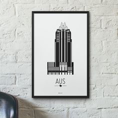 """The Austin Icon poster features Frost Bank Tower, an office building located in Austin, Texas. Taking the top spot when it was completed, the """"owl"""" building stands 33 floors high and is now the third"""