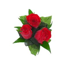 3 Red Roses Wristlet.   Item # HEF-WC01.       Three miniature red roses are clustered together and accented with black chiffon ribbon and assorted foliages.