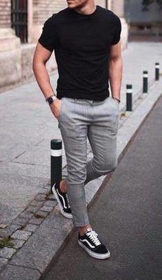 ZESICA Frauen Langarm Floral Pockets Casual Swing Plissee T-Shirt Kleid - Men's style, accessories, mens fashion trends 2020 Black Shirt Outfit Men, Vans Outfit Men, Chinos Men Outfit, Grey Pants Outfit, Blazer Outfits Men, Vans Men, Mens Trousers Casual, Plaid Pants, Converse Men