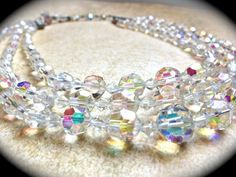 3 Strand Crystal Necklace-Aurora Borealis by JNPVintageJewelry
