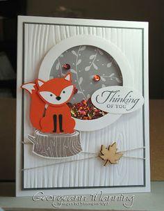 Foxy Friends, Wetlands, Thinking of You Card, Woodgrain Embossing Folder, Fall Card, Stampin' Up, Handmade Card,