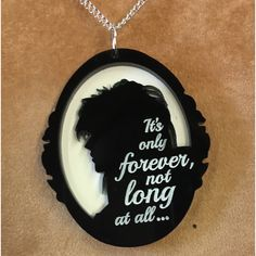 JARETH (David Bowie) cameo pendant..with LABYRINTH quote ($25) ❤ liked on Polyvore featuring jewelry, pendants, cameo pendant, long pendant, cameo jewelry, charm pendant and chain pendants