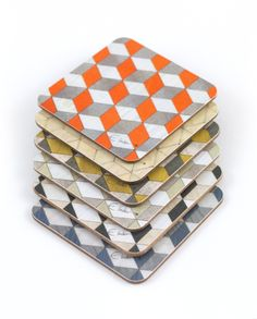 Modern Coasters, Coaster Art, Cube Design, Mosaic Patterns, Wood Veneer, Sell On Etsy, Color Mixing, Cleaning Wipes, Decorative Boxes