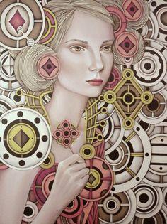 Queen of Diamonds by Iyan de Jesus - Rachel | more here: http://playingcardcollector.net/2013/11/26/mechanical-romanticism-queens-by-iyan-de-jesus/