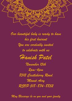 Mundan ceremony invitations for a hindu celebrations Lunch Invitation, Open House Invitation, Invitation Cards, Party Invitations, Retirement Invitation Wording, Unique Wedding Invitation Wording, Fourth Of July Quotes, 35th Wedding Anniversary, Turtle Birthday Parties