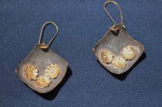 Handmade Copper Earrings Dangle Earrings Floral Earrings