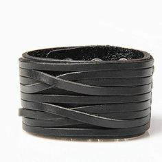 Jenia Punk Unisex Genuine Leather Wide Belt Wristband Bangle Cuff Bracelet 7-8.5 Black by Jenia -- Awesome products selected by Anna Churchill