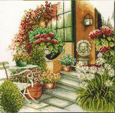 Terrace in Autumn Bloom - Cross Stitch Kit
