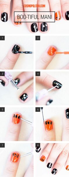"""BOO-TIFUL MANI: Nail artist Simcha Whitehill (aka Miss Pop) explains how to get this cute Halloween mani in this tutorial. Get the look by painting nails black, except for a few accent nails that will be painted with orange polish. Then use a dotter tool to create eyes and a striper brush to create the """"BOO."""" With just a few more steps, this Halloween look is complete! Click through to get the all the expert tips and detailed instructions."""