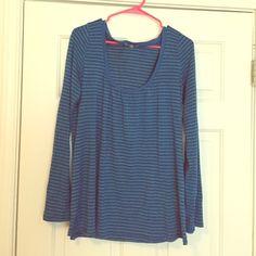 Blue Striped Lucky Brand T-Shirt --Long Sleeve Blue striped Lucky Brand shirt with long sleeves. Lucky Brand Tops Tees - Short Sleeve