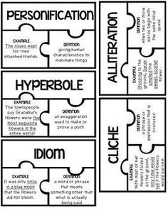 Figurative Language Puzzles {FREEBIE} Easy to recreate to make the rest! Teaching Language Arts, Teaching Writing, Speech And Language, Teaching English, Teaching Poetry, English Language Arts, Language Arts Games, Teaching Themes, Gcse English