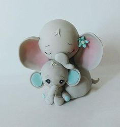 Baby Elephant and Mommy Baby Shower Cake Topper/ Cold Porcelain forever keepsake Please ask about free color customization - Can be customized for a baby girl or gender neutral Baby Shower! This sweet and unique cake topper looks like fondant, but it is created in non-edible,