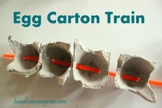 Toddler Fine Motor Activity: Egg Carton Train -- have you done anything with egg cartons?