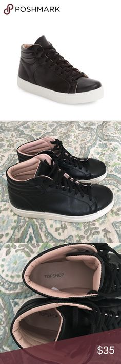 Topshop black hi top leather Cinger sneakers Wore these Topshop Cinger leather sneakers only a few times and they are just too big on me. Pristine condition . Size 7.5. (Eurosize 38, U.K./Australia sz 5= US size 7.5) Color is black leather with pink leather interior. Topshop Shoes Sneakers
