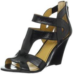Nine West Women's Merle Wedge Sandal,Black Leather