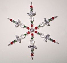 Beaded Snowflake Ornament  Christmas Ornament  by ItsaColorfulLife