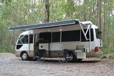 Toyota Coaster 'Diamond Series' Coaster Motorhome Mobile Kiosk, Mini Motorhome, Mobile Living, Cool Campers, Motor Homes, Expedition Vehicle, Class B, Campervan, Caravan