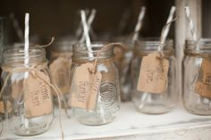 Mason Jars double as Table Place Settings + Favors I Photography by Verdi I Want more? Read on : http://www.weddingwire.com/wedding-photos/real-weddings/rustic-vintage-ranch-wedding/i/102a69408a247f8a-d6e1035dc969d13d/5e0e668deed57dee